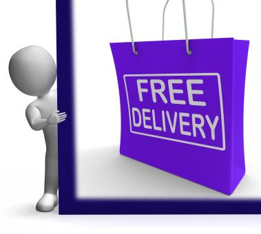 Free Stock Photo of Free Delivery Shopping Sign Showing No Charge Or Gratis To Deliver