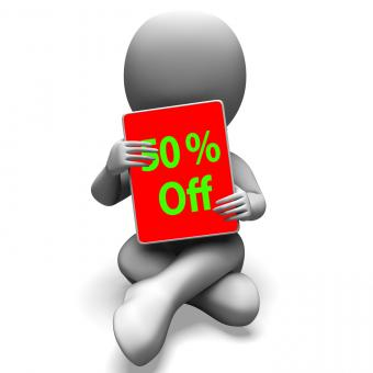 Free Stock Photo of Fifty Percent Off Tablet Means 50 Discount Or Sale Online