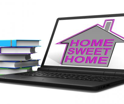 Free Stock Photo of Home Sweet Home Laptop House Means Homely And Comfortable