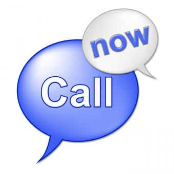 Free Stock Photo of Call Now Sign Indicates At This Time And Communicate