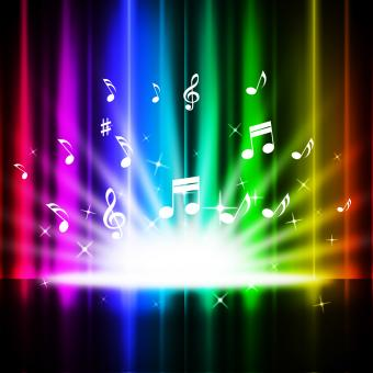 Free Stock Photo of Rainbow Curtains Background Means Music Songs And Stage