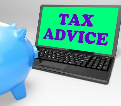 Free Stock Photo of Tax Advice Laptop Shows Professional Advising On Taxation