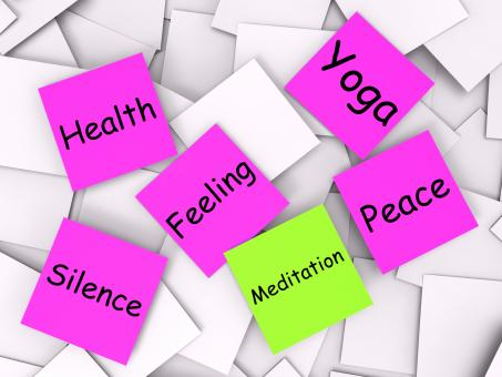 Free Stock Photo of Meditation Post-It Note Means Meditate Relax And Peace