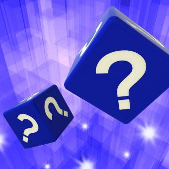 Free Stock Photo of Question Mark Dice Background Showing Confusion
