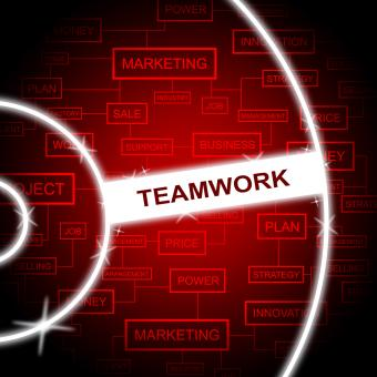 Free Stock Photo of Teamwork Word Means Cooperation Networking And Together