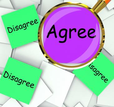 Free Stock Photo of Agree Disagree Post-It Papers Mean For Or Against