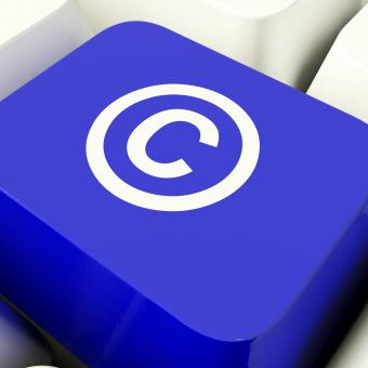 Free Stock Photo of Copyright Computer Key In Blue Showing Patent Or Trademark