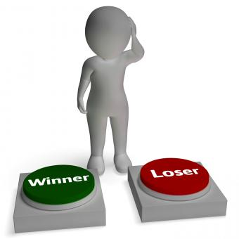 Free Stock Photo of Winner Loser Buttons Shows Winning Or Losing