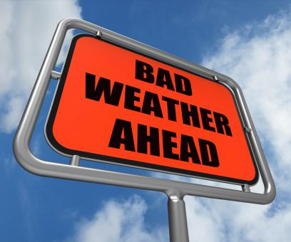 Free Stock Photo of Bad Weather Ahead Sign Shows Dangerous Prediction