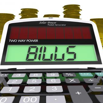 Free Stock Photo of Bills Calculator Shows Accounts Payable And Due