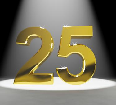 Free Stock Photo of Gold 25th 3d Number Closeup Representing Anniversary Or Birthday
