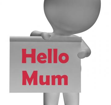 Free Stock Photo of Hello Mum Sign Means Greetings To Mother
