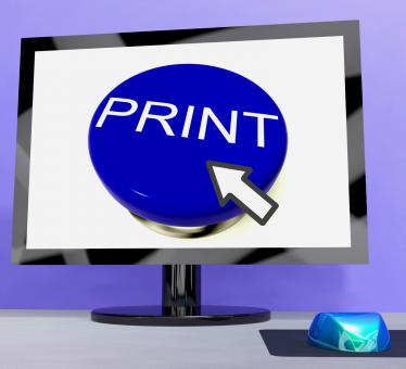 Free Stock Photo of Print Button On Computer For Web Printout