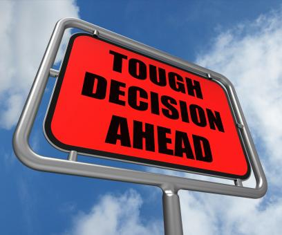 Free Stock Photo of Tough Decision Ahead Sign Means Uncertainty and Difficult Choice