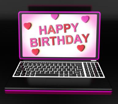 Free Stock Photo of Happy Birthday Message On Computer Shows Internet Greeting