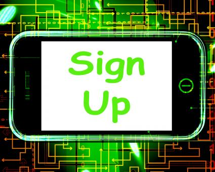 Free Stock Photo of Sign Up On Phone Shows Join Membership Register