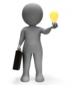 Free Stock Photo of Businessman Lightbulb Shows Power Source And Character 3d Rendering