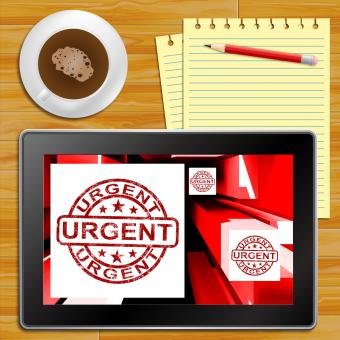 Free Stock Photo of Urgent On Cubes Shows Urgent Priority Tablet