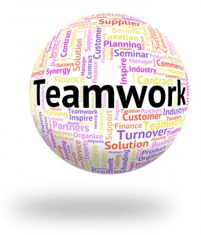 Free Stock Photo of Teamwork Word Represents Wordcloud Unity And Together
