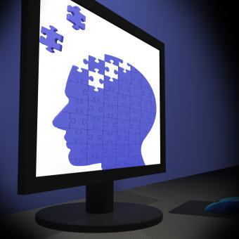 Free Stock Photo of Head Puzzle On Monitor Showing Human Brightness