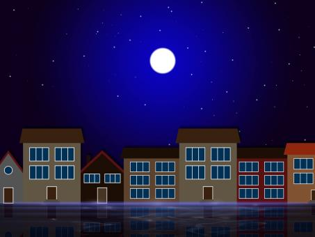 Free Stock Photo of Moon Night Indicates Astronomy House And Residential