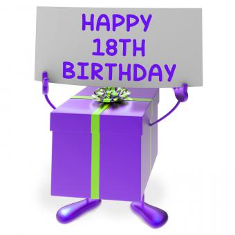 Free Stock Photo of Happy 18th Birthday Sign and Gift Show Eighteenth Party