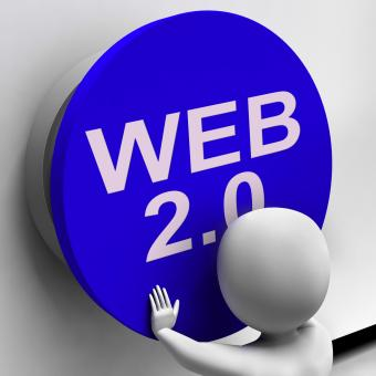Free Stock Photo of Web 20 Button Shows User-Generated Website Platform