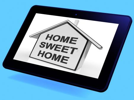 Free Stock Photo of Home Sweet Home House Tablet Means Welcoming And Comfortable