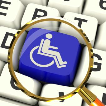 Free Stock Photo of Disabled Key Magnified Shows Wheelchair Access Or Handicapped