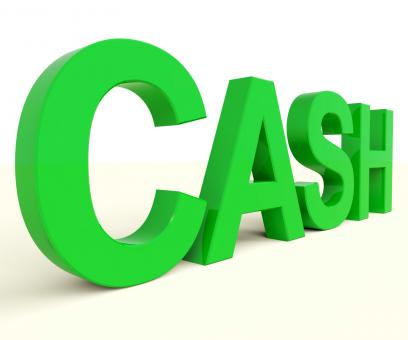 Free Stock Photo of Cash Word As Symbol For Currency And Finance
