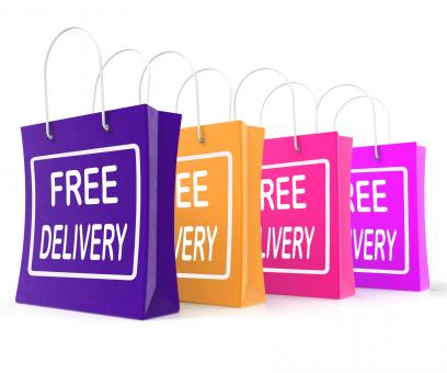 Free Stock Photo of Free Delivery Shopping Bags Showing No Charge Or Gratis To Deliver