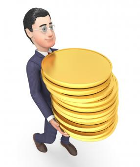 Free Stock Photo of Finance Businessman Represents Coins Money And Success 3d Rendering