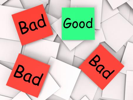 Free Stock Photo of Good Bad Post-It Notes Show Excellent Or Dreadful