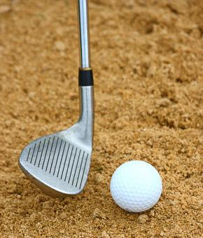 Free Stock Photo of Hitting A Golf Ball Out Of A Bunker
