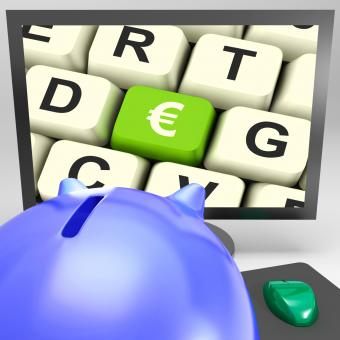 Free Stock Photo of Euro Key On Monitor Shows European Exchange