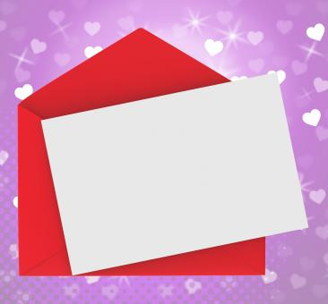 Free Stock Photo of Red Envelope With Note card Shows Romance And Love