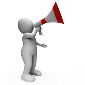 Free Stock Photo of Megaphone Character Shows Announcements Proclaiming And Announcing