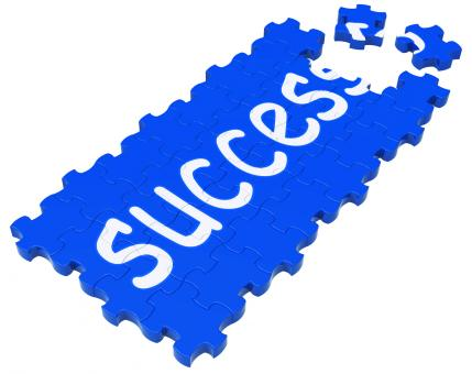 Free Stock Photo of Success Puzzle Shows Accomplishment And Successful Business