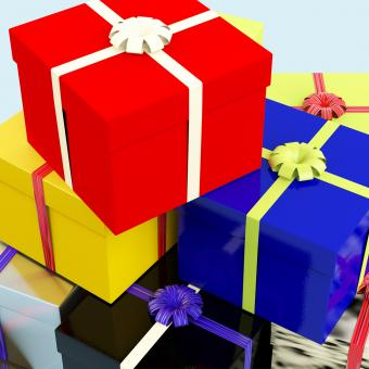 Free Stock Photo of Multicolored Giftboxes As Presents For The Family Or Friends