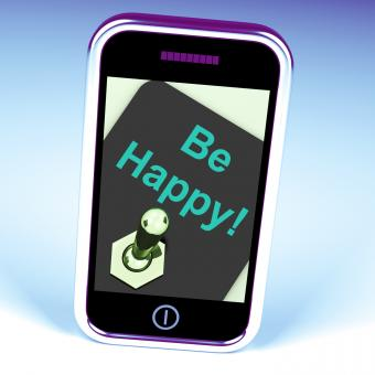 Free Stock Photo of Be Happy Phone Shows Happiness Or Enjoyment