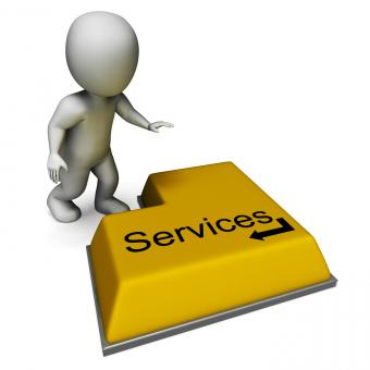 Free Stock Photo of Services Button Shows Assistance Or Maintenance