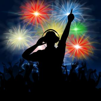 Free Stock Photo of Disco Dj Represents Fireworks Display And Celebrating