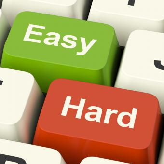 Free Stock Photo of Hard Easy Computer Keys Showing The Choice Of Difficult Or Simple Way