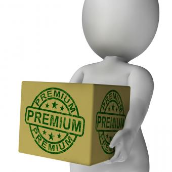 Free Stock Photo of Premium Stamp On Box Shows Excellent Superior Premium Product