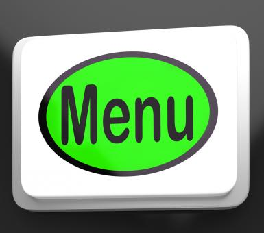 Free Stock Photo of Menu Button Shows Ordering Food Menus Online