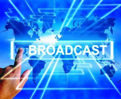 Free Stock Photo of Broadcast Map Displays Internet Broadcasting and Transmission of News