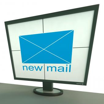 Free Stock Photo of New Mail Envelope On Monitor Shows New Messages