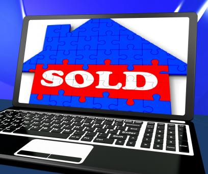 Free Stock Photo of Sold On House On Laptop Shows Sold Property