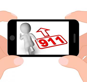 Free Stock Photo of Running Character And 911 Nine One Displays Emergency Help Rescue