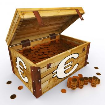 Free Stock Photo of Euro Chest Of Coins Shows European Prosperity And Economy